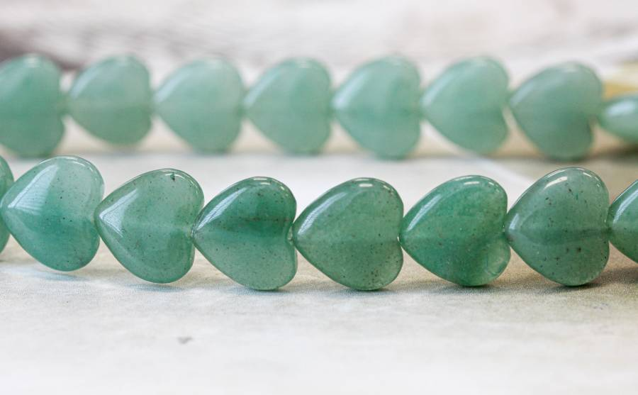 138-1074 Aventurine 12mm Puffy Heart