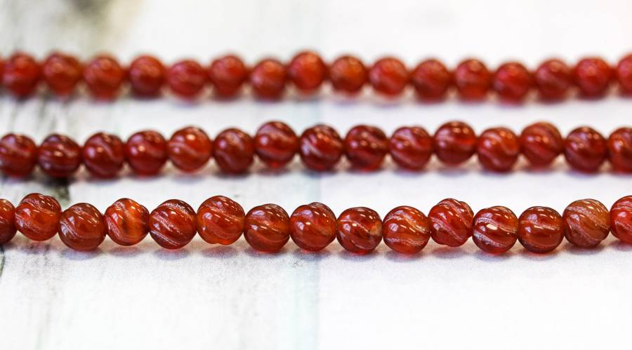 153-1497 Carnelian 6mm S-Corrugated Round
