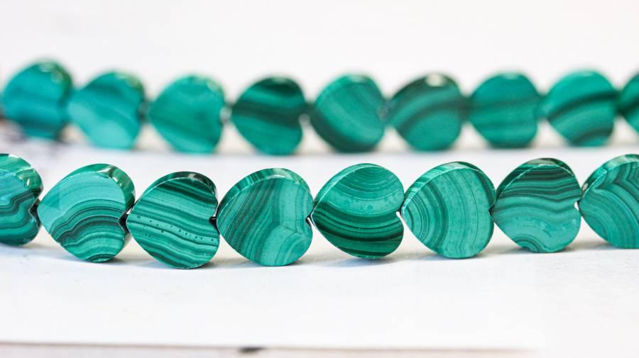 178-1215 Malachite 12mm Heart