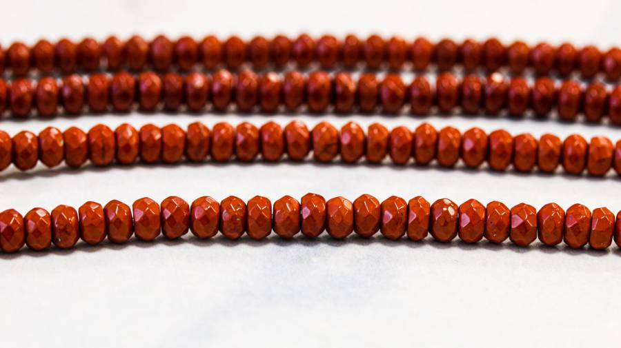 192-1117 Red Jasper 4mm Faceted Rondell