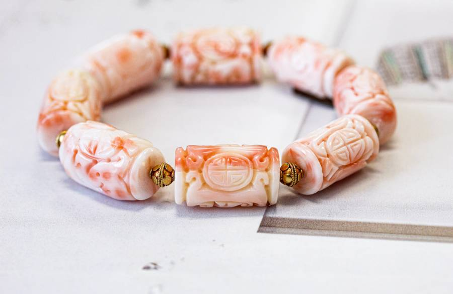518-1150 Pink Coral 13x Carved Tube Bracelet