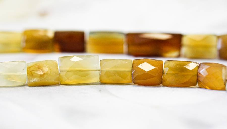 101-1511 Yellow Chalcedony 10x14 Faceted Flat Rectangle