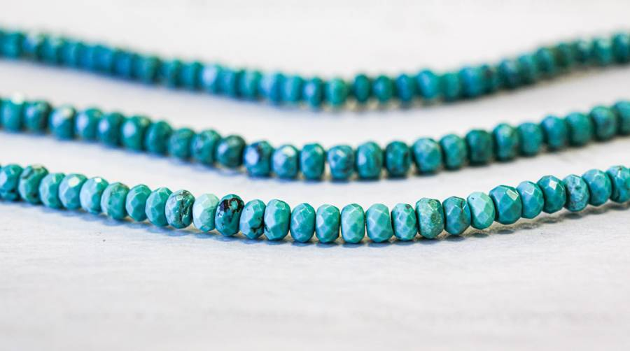 112-2888 Chinese Turquoise 6mm Faceted Rondell