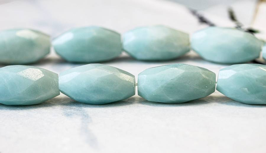 133-2097 Amazonite 16x31 Faceted Flat Oval