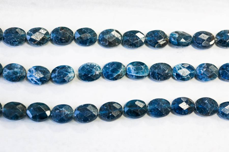 135-1082 Blue Apatite 8x10 Faceted Flat Oval