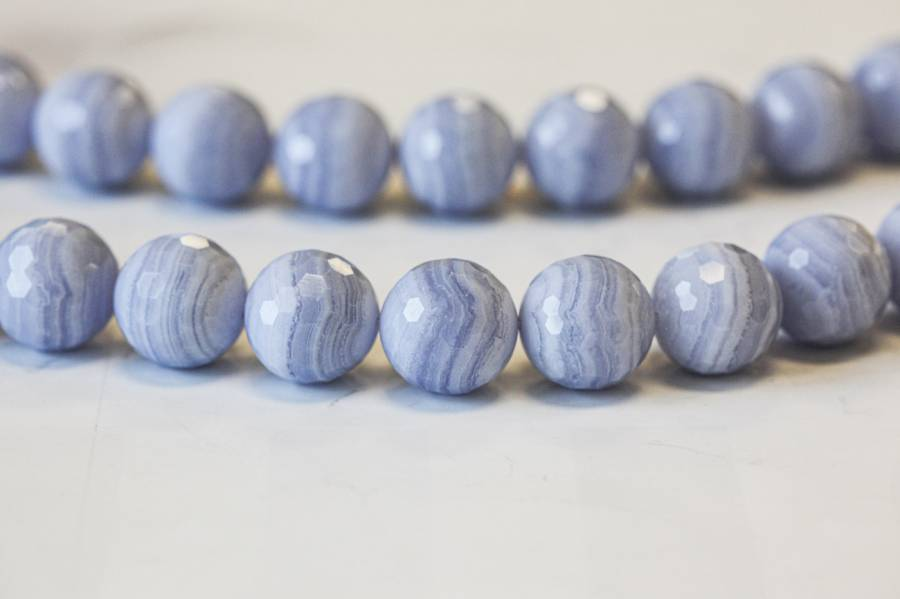 145-1147 Blue Lace Agate 18mm Faceted Round