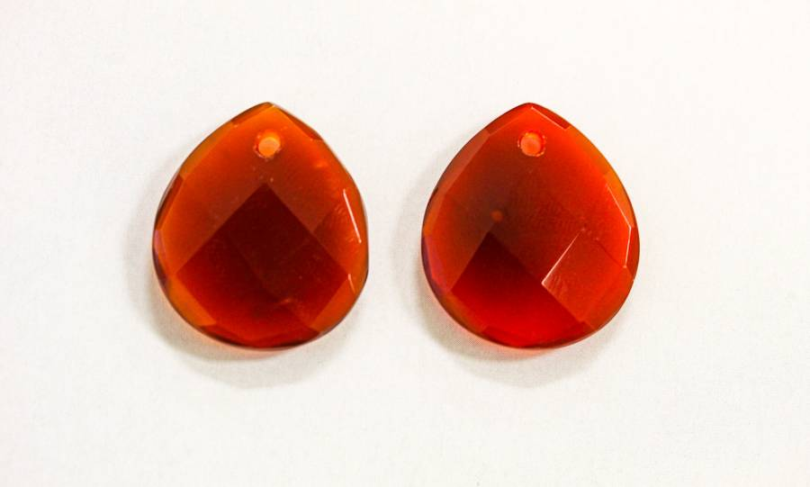 153-1350 Carnelian 22x25 Faceted Flat Pear Pendant