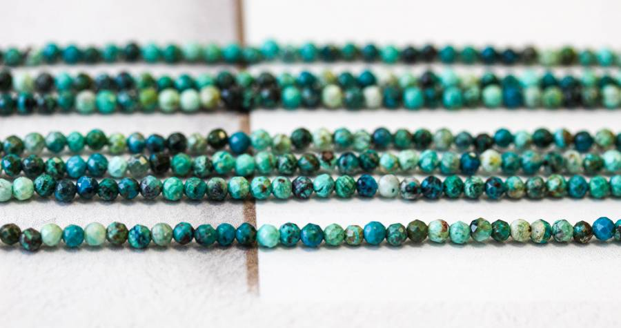 156-1259 Chrysocolla 3mm Faceted Round