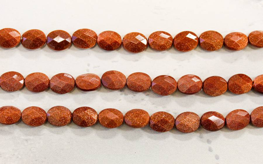 164-1012 Goldstone 8x10 Faceted Flat Oval