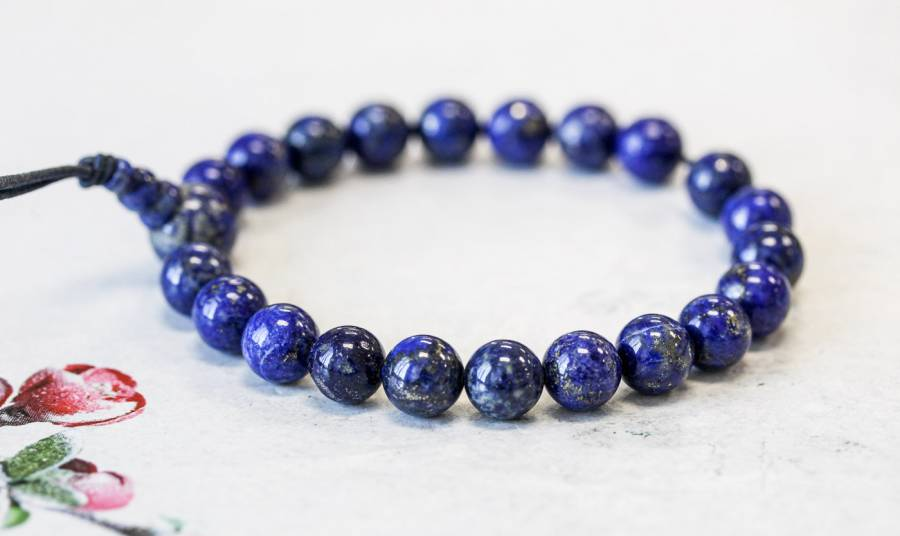 174-2033 Natural Lapis 8mm Power Beads Bracelet
