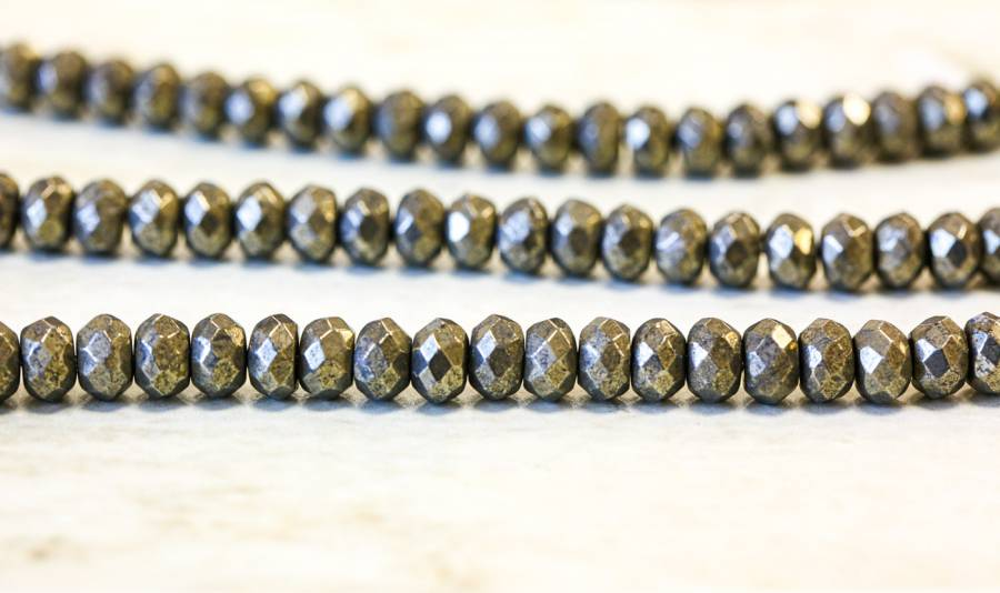 190-1309 Pyrite 8mm Faceted Rondell