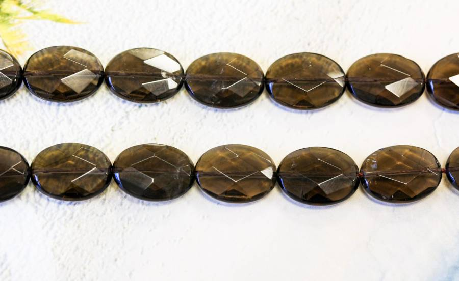 203-1575 Smoky Quartz 15x20 Faceted Flat Oval