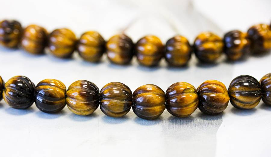 210-1394 Tiger Eye 10mm Corrugated Round
