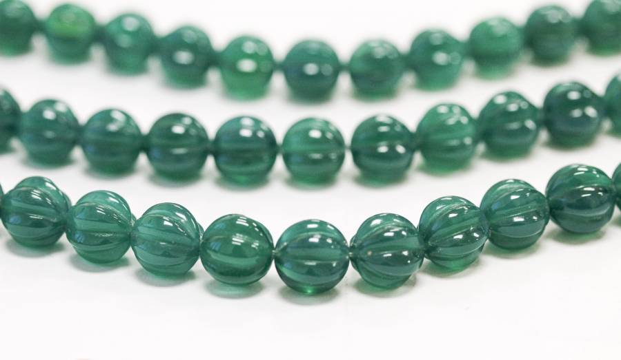 222-1105 Green Onyx 10mm Corrugated Round