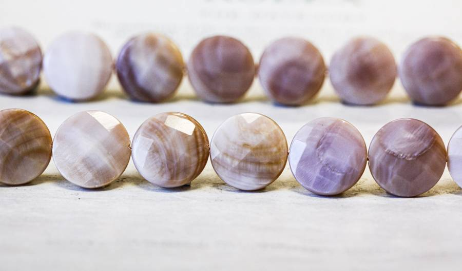 245-1184 Pink Mother of Pearl 20mm Faceted Coin