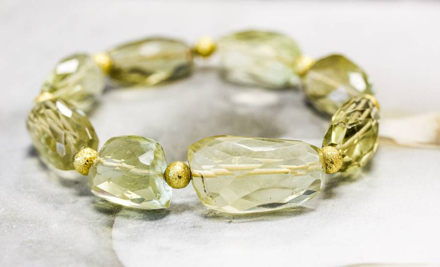 262-1131 Lemon Quartz 14-16x Faceted Nugget Bracelet