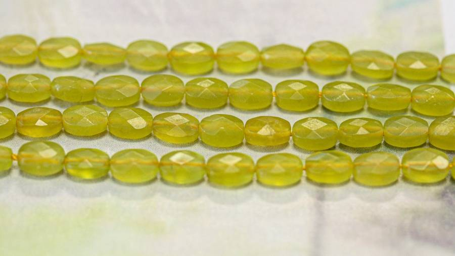 295-1052 Olive Quartz 5x7 Faceted Flat Oval